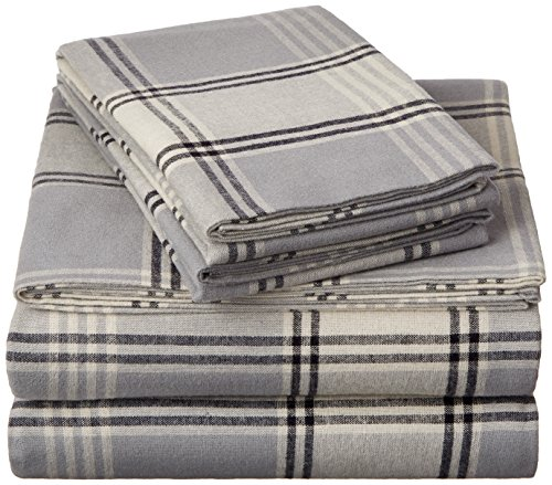 (Pinzon 160 Gram Plaid Flannel Sheet Set - Queen, Grey Plaid - FLSS-GYPL-QN)
