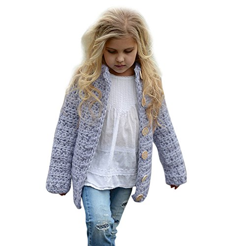 FEITONG Toddler Kids Baby Girls Outfit Clothes Button Knitted Sweater Cardigan Coat Tops (Purple, 2-3T) ()