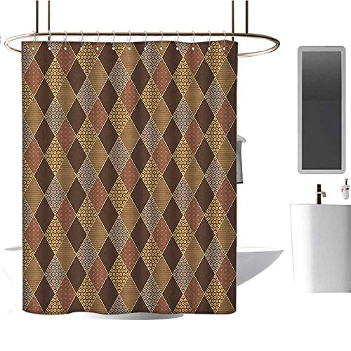 - Shower Curtain lining36 x72 Earth Tones,Lozenge Pattern in Patchwork Style Striped and Floral Rhombus Brown Shades Brown Yellow,Heavy Duty Rustproof Metal Grommets Bathroom Shower Curtain