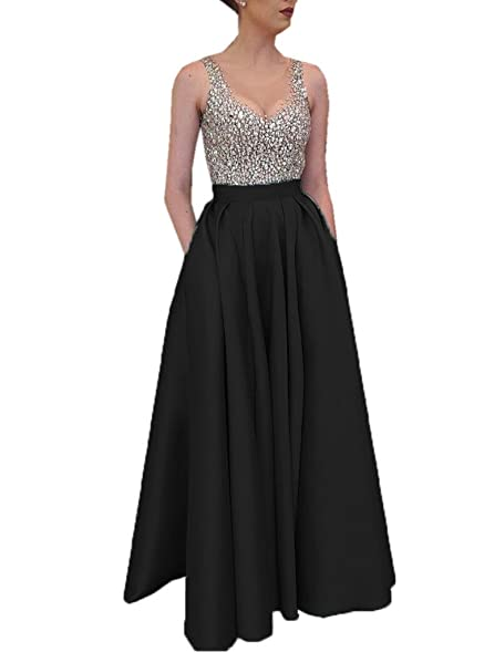 Spbridal Womens Black Satin Bridesmaid Dress For Wedding Party