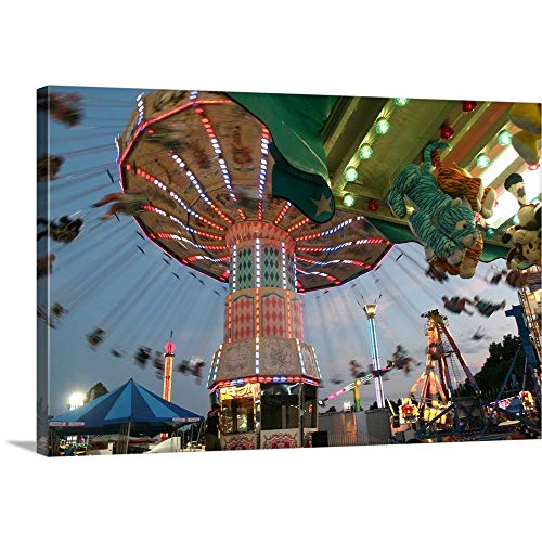 GREATBIGCANVAS Gallery-Wrapped Canvas Entitled County Fair Flying Chairs by Robert Goldwitz ()