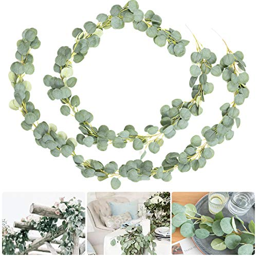 ANPHSIN 2 Pack Artificial Silver Dollar Eucalyptus Leaves Garland- Greenery Faux Silk Vines Fake Hanging Eucalyptus Leaf Garland for Wedding Backdrop Arch Wall Centerpieces Decor Flower Arrangement