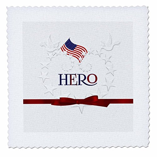 (3dRose Patriotic Hero Star Spangled Etched-Like Heart with American Flag - Quilt Square, 10 by 10