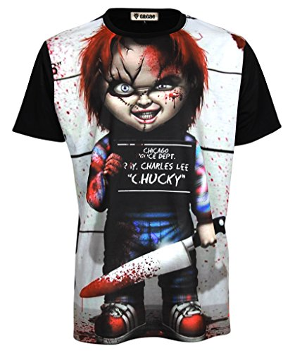 Topcloset Chucky Doll Halloween Scarface Movie Men Unisex Shirt Small Black]()