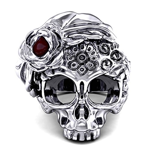 EVBEA Skull Rings for Women Cool Big Statement Gothic Jewelry with Ruby Flower