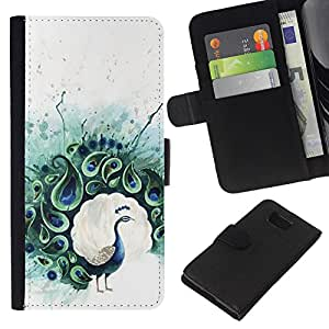 Planetar® Modelo colorido cuero carpeta tirón caso cubierta piel Holster Funda protección Para Samsung ALPHA / SM-G850 / S801 ( Peacock Feather Pintura de Aves)