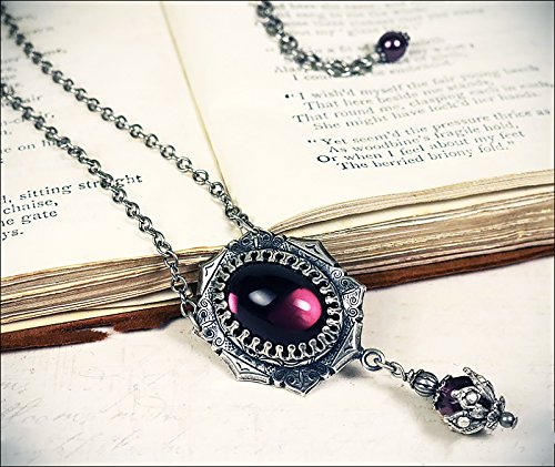 - Antiqued Medieval Style Pendant Necklace with Glass Cabochons - Medieval