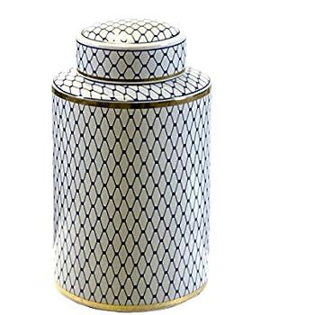 Sagebrook Home VC10464-03 Ceramic Lidded Jar, White/Blue/Gold Ceramic, 7.25 x 7.25 x 12 Inches