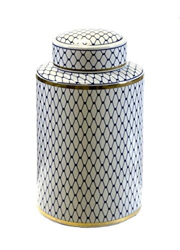 Sagebrook Home VC10464-03 Ceramic Lidded Jar, White/Blue/Gold Ceramic, 7.25 x 7.25 x 12 ()