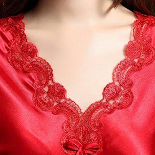 Camicia Casa Notte Pigiama Larga Mezza Magro Rosso Da Donna Taglia Abbigliamento Manica Da Traspirante Tookang ZwPYqn