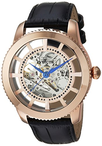 Invicta Men's 'Vintage' Automatic Stainless Steel and Leather Casual Watch, Color:Black (Model: 23639) (Rose Leather Gold Watch Invicta)