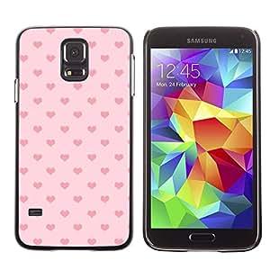 TopCaseStore / la caja del caucho duro de la cubierta de protección de la piel - Polka Dot Pattern Love - Samsung Galaxy S5 SM-G900