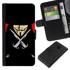 - FREEDOM VENDETTA BLACK ANON ANONYMOUS - - Prima caja de la PU billetera de cuero con ranuras para tarjetas, efectivo desmontable correa para l Funny House FOR HTC One M9