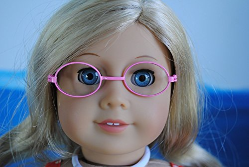 Unique Doll Clothing Oval Pink Frame Doll Eyeglasses for American Girl Dolls and Most 18