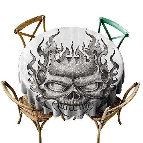 Jbgzzm Elegance Engineered Tablecloth Tattoo Decor Skull Face Head Mask with Teeth Horror Theme in Sketch Style Evil Metal Punk Rock and Durable D67 Grey ()