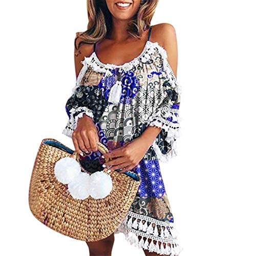 WOCACHI Womens Off Shoulder Cover Ups Dress Tassel Hem Bohemia Printed Strappy Boho Cocktail Party Beach Mini Dresses 2019 Summer New Deals Under 10 Dollars ()