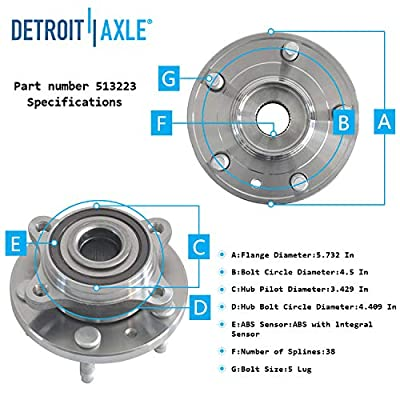 Detroit Axle - 513223 Front Wheel Hub & Bearing Assembly for 2005-2009 Ford Five Hundred Freesyle Taurs X Mercury Montego Sable: Automotive