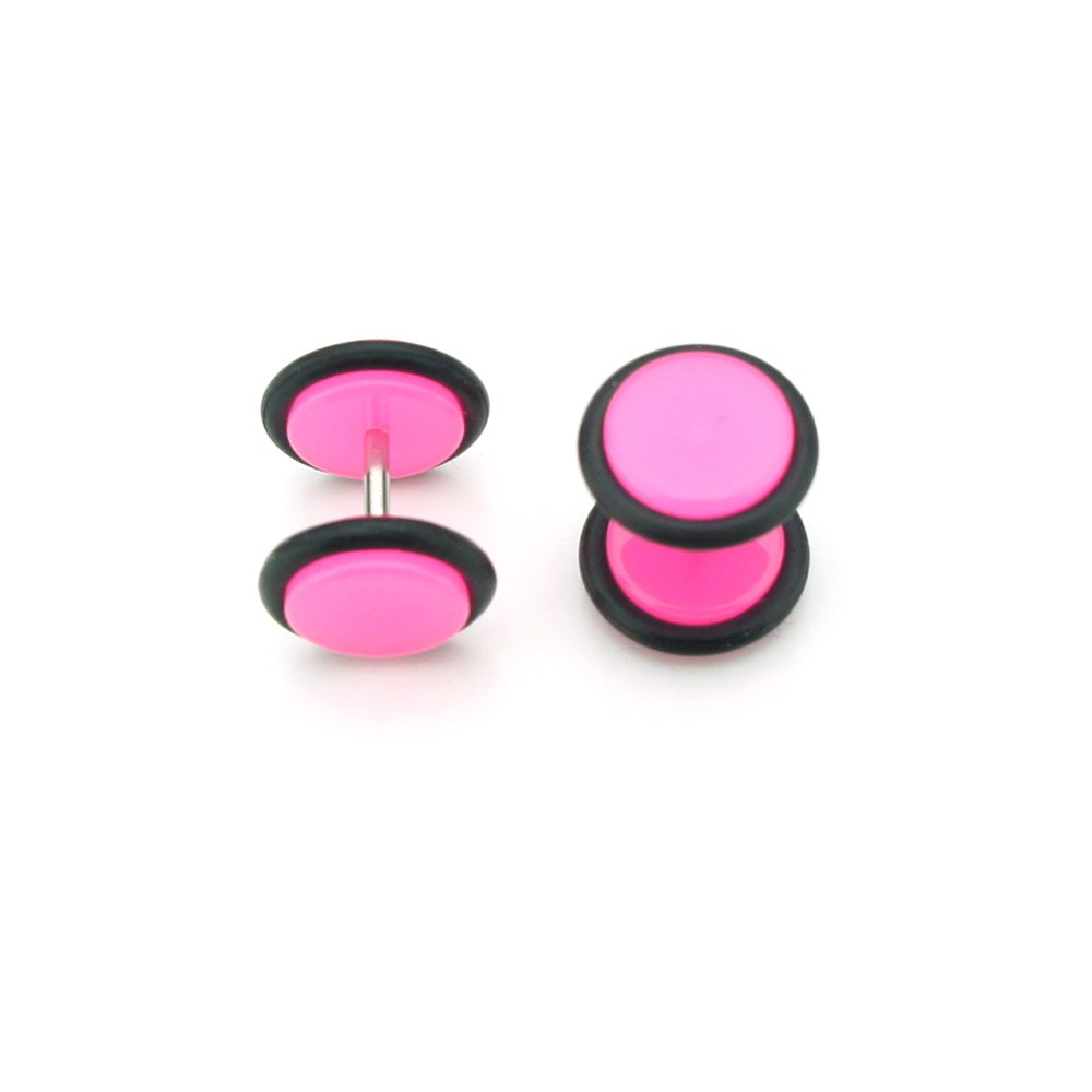 Solid Pink - Acrylic Fake Plugs - Cheaters - 2G Gauge - 6mm