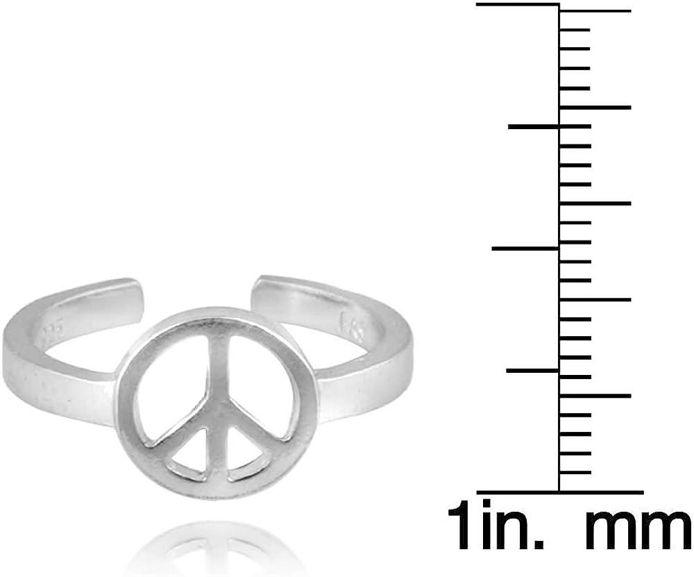Plata Esterlina nuevo!!! Ajustable Signo de Paz Anillo del dedo del pie!!! 925