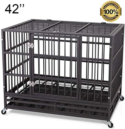 JY QAQA PET Heavy Duty Dog Cage Strong Folding Metal Crate Kennel for Medium and Large Dogs with Double Door, Two Prevent Escape Lock, Tray and Rolling Wheels 36 38 42 48