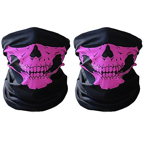 2 pcs/lot Outdoor Face Masks,ECLEAR Seamless Skull Half Face Tube Mask Headwear for Motorcycle Hiking Cycling Ski Snowboard - - Boards Running Pink