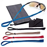 Adjustable Sunglass Straps | 4pk with Bonus Case/Cloth | Fits Kids to Adults