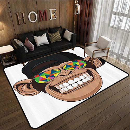 Floor mats,Cartoon Decor,Fun Hipster Monkey with Colorful Sunglasses and Hat Rapper Hippie Ape Art Graphic,Multi 59