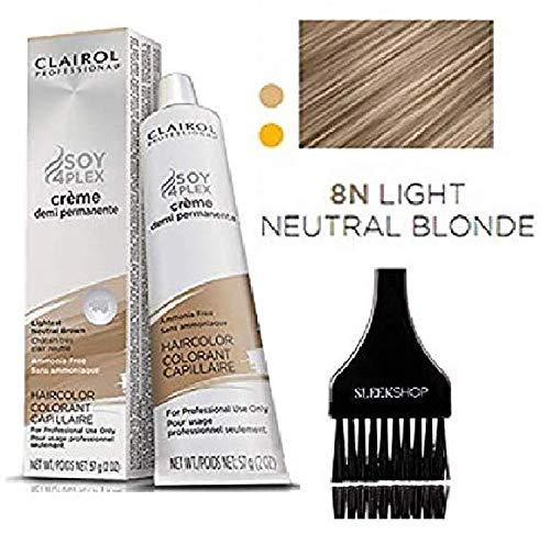 (Clairol Soy4Plex DEMI PERMANENT CREAM HAIR COLOR (w/Sleek Tint Brush) Ammonia-Free Creme Demi Permanente Professional Haircolor (8N LT NEUTRAL BLONDE) )