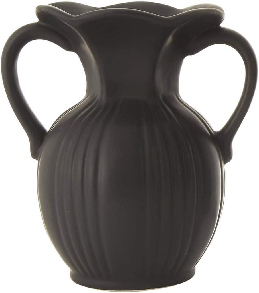 5-Inch Matte Black Fluted Ceramic Flower Vase with Double Handles - Elegant Tabletop Decoration - Decorative Home Accent Table Decor