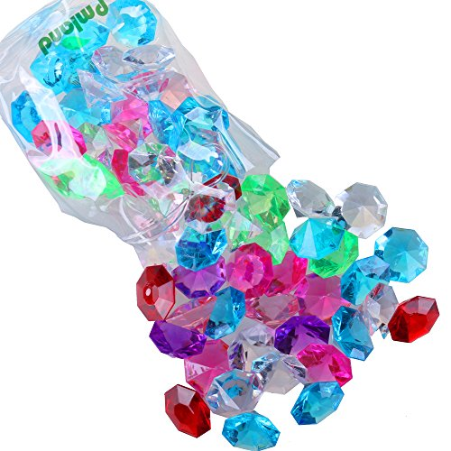 Acrylic Diamond Gems and Jewels, Bulk 1 Pound Bag,Approximately 60 Pieces, Assorted Colors (Big Gems)