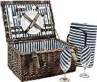 Wicker Picnic Basket for 2, Picnic Set for 2,Willow Hamper Service Gift Set