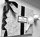 Lace Bridal Shower Guest Book, Black + White Wedding Guestbook, Vintage Lace Guestbook and Pen (Custom Colors Available)