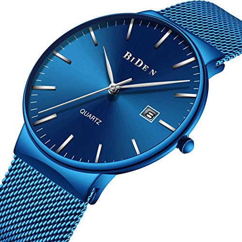 BIDEN Men's Fashion Minimalist Wrist Watch Analog Deep Date with blue Mesh Band