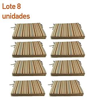 pack cojines asiento lux para exterior estampado a rayas para sillas y sil