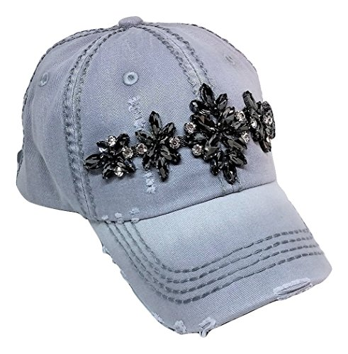(Olive & Pique Women's Zoey Glitz Distressed Bling Baseball Cap (Light Grey))