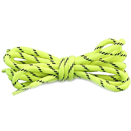 Shoe Yellow Bowling (DailyShoes Round Hiking Boot Shoelaces Strong Durable Stylish Shoe Laces (Great for Bowling Shoes) Neon Yellow Black 36