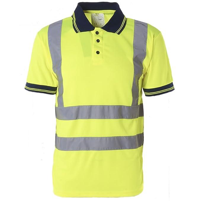1f6bbebc0 Hi Viz para Hombre Cuello de Polo Camiseta de Manga Corta Trabajo Seguridad  Alta Visibilidad EN471 de Seguridad: Amazon.es: Ropa y accesorios