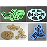 Half Marathon Male Running Themed Set of 3 Cookie Cutters Featuring 13.1 Cookie Cutter, Guy Runner Cookie Cutter and Running Shoe Icon Cookie Cutter