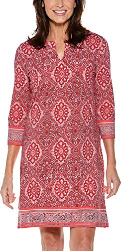 (Coolibar UPF 50+ Women's Oceanside Tunic Dress - Sun Protective (Large- Sunset Coral Boardwalk)