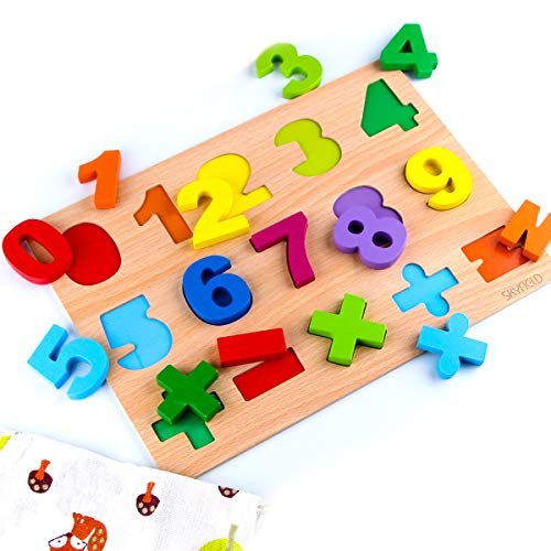SKYFIELD Wooden Number Puzzles, Vibrant Color Puzzles for Toddlers 2 -6 Years, Preschool Boys & Girls Educational Learning Toys, Sturdy Wooden Construction , 13.4'' L x 9.8'' W (Number Puzzle)