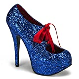 Pleaser Women's Teeze-10G Platform Pump,Blue Glitter,8 M US