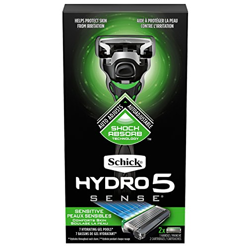 Schick Hydro 5 Sense Sensitive Skin Razor with Shock Absorb Technology for Men, 1 Handle with 2 Refills