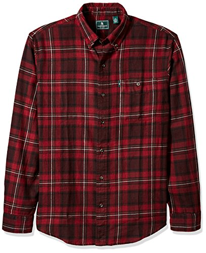 G.H. Bass & Co.. Men's Long Sleeve Fireside Plaid Flannel Shirt, Chocolate Truffle, Large