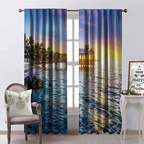 United States Blackout Curtain Pier at Beach in Key West Florida USA Tropical Summer Paradise 2 Panel Sets W100 x L84 Inch Light Blue Yellow Green (Windsor One Pier)