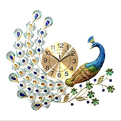 ANYANG DEXIN Peacock Silent Non-Ticking Quartz Wall Clock Decoration Indoor Kitchen Wall Clock Battery-Driven Wall Clock Precision Metal Pointer for Living Room Bedroom Home Decoration
