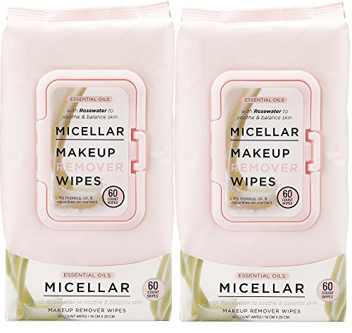 Essential Oils - 2 Pack (60 Count Each) Micellar Makeup Remover Facial Wipes