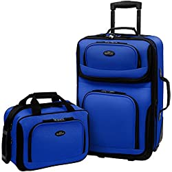 US Traveler Rio Two Piece Expandable Carry-On Luggage Set, Blue new 2 - One Size