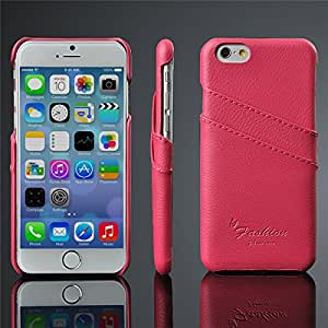 10Pcs Real Litchi Genuine Leather Case For Apple iPhone 6 4.7'' With 2card Holders On Back ,New Back Cover For iPhone6 YXF04322 --- Color:Black