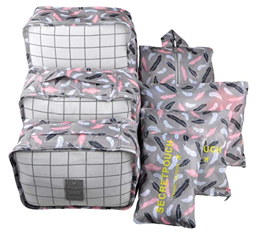 7 Set Travel Cubes,5 Colors Waterproof Mesh Durable Luggage Packing Organizers,1 Travel Shoe Bag,6 Set Packing Cubes Feathers