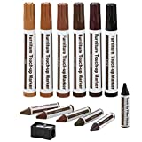 Furniture Repair Kit Wood Markers - Set Of 13 - Markers And Wax Sticks With Sharpener Kit, For Stains, Scratches, Wood...
